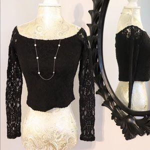 {Kimchi Blue} black lace crop top